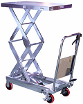 "770lb Capacity Stainless Steel Manual Scissor Lift Table - 52.1"" Lift thumb"