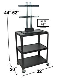 Large Steel Adjustable Height Cart & LCD Mount -3 Shelves