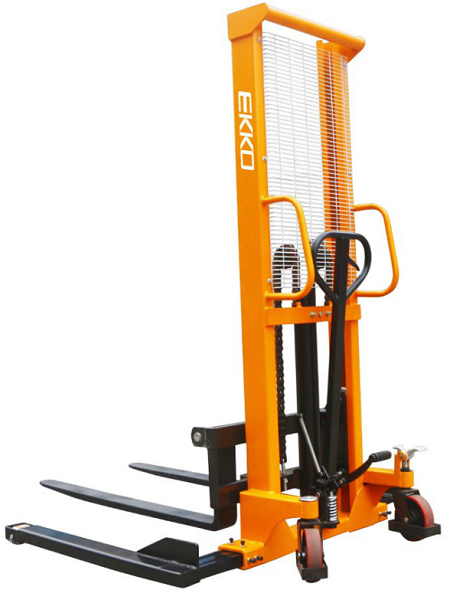 "Ekko  Manual Lift Straddle Stacker 63"" Lift 2200lb Capacity"
