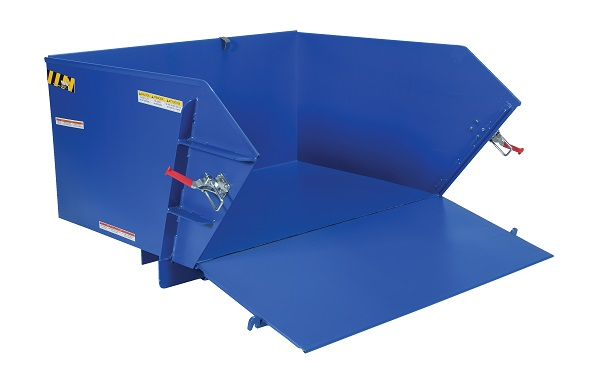 4000 lb Capacity Self-Dumping Steel Hopper with Fold Down Front thumb