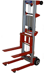 """Hand Winch Fork Lift Truck with Fixed Base and Invertible Forks - 120"""" Lift thumb"""