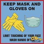 Keep Mask and Gloves On Safety Floor Sign thumb