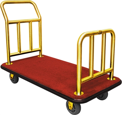 Monarch Brushed Titanium Gold Plated Hotel Luggage Cart  thumb