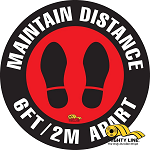 Maintain Distance Safety Floor Sign thumb