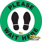 Please Wait Here Safety Floor Sign thumb