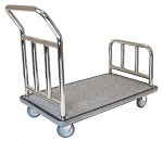 Hotel Luggage Platform Cart - Chrome and Grey Carpet