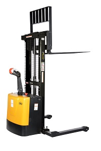2000-lb Capacity Motorized Stacker With Lift And Drive - Adjustable Forks And Legs