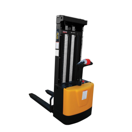 "Fully Motorized Pallet Stacker With Lift and Drive - 118"", 2000-lb Capacity"