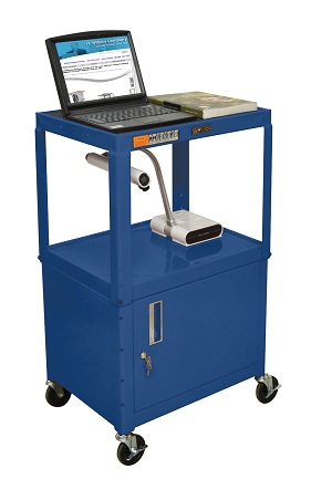 Metal Utility and Audio Visual Cart with Cabinet