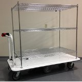 "2000lb Motorized Stock Cart with 3 Shelves 30"" x 60"""