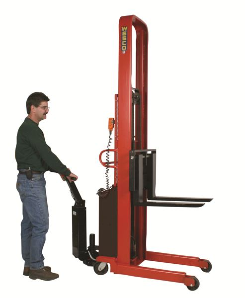 """2000lb Powered Stacker with 86"""" Lift thumb"""