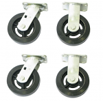 "Set of 4 Solid Rubber Casters - 6"" x 2"" thumb"