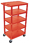 "5 Shelf Plastic Utility Cart 18"" x 24"" 46"" H"