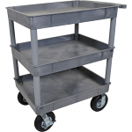 "3 Shelf Service cart with Big 8"" Pneumatic Wheels - Grey"