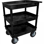 "3 Shelf Service cart with Big 8"" Pneumatic Wheels - Black"