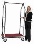 Triangular Top Chrome Hotel Bellman Luggage Cart thumb