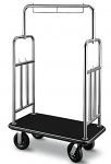 Stainless Steel Finish Bellman Cart with Black Carpet Base thumb