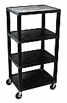 "4 Shelf Plastic Utility Cart 18"" x 24"" 60"" H"